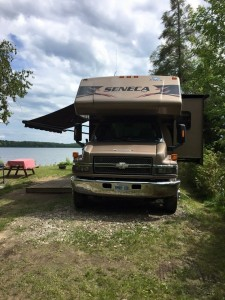 "Waterfront motorhome available for rent through Airbnb ""Motorhome at Family Campground"" or directly"