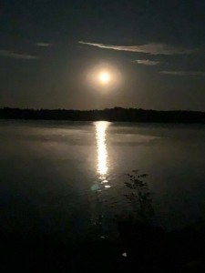 Enjoy the moon by the lake